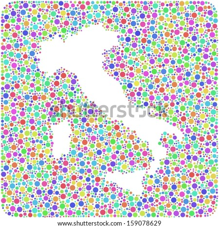 Decorative map of Italy - Europe - into a colored square sign. Mosaic of harlequin bubbles - stock vector