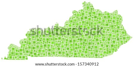 Decorative map of Kentucky - USA - in a mosaic of green squares