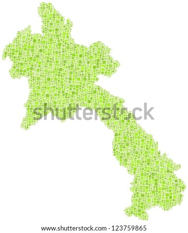Decorative map of Laos - Asia - in a mosaic of green squares