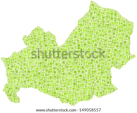 Decorative map of Molise - Italy - in a mosaic of green squares. A number of 4104 little squares are accurately inserted into the mosaic. White background.