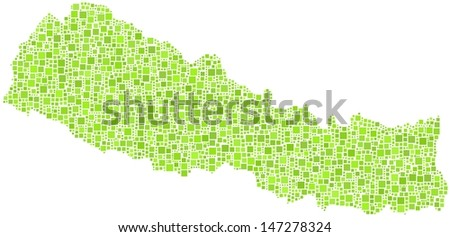 Decorative map of Nepal - Asia - in a mosaic of green squares