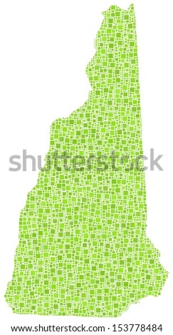 Decorative map of New Hampshire - USA - in a mosaic of green squares