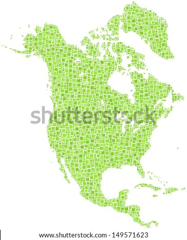 Decorative map of North America Continent in a mosaic of green squares. A number of 5971 little squares are accurately inserted into the mosaic. White background.