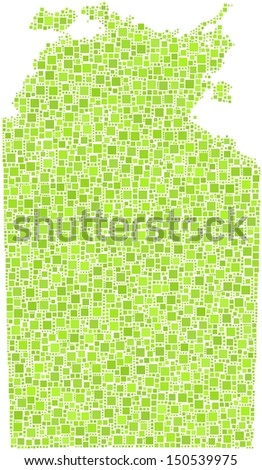 Decorative map of Northern Territory - Australia - in a mosaic of green squares.A number of 4462 little squares are accurately inserted into the mosaic. White background.