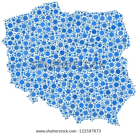 Decorative map of Poland - Europe - in a mosaic of blue bubbles.  A number of 2605 little cirlces are accurately inserted into the mosaic. White background.