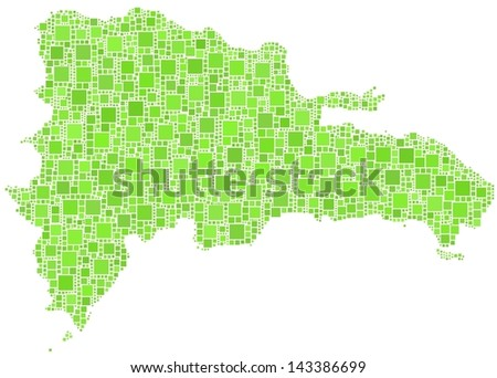 Decorative map of Republic Dominicana - Central America - in a mosaic of green squares