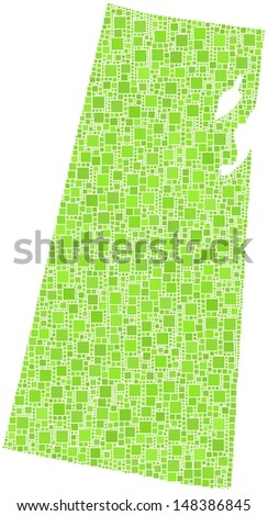 Decorative map of Saskatchewan - Canada - in a mosaic of green squares