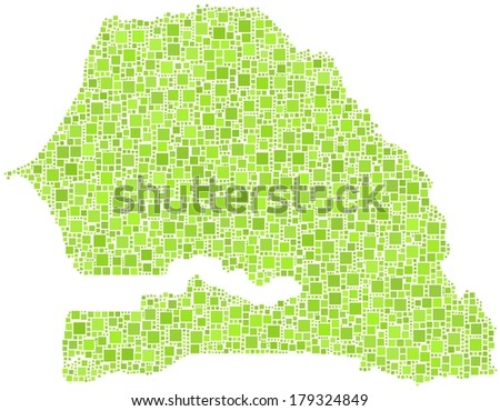 Decorative map of Senegal - Africa - in a mosaic of green squares