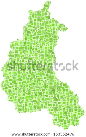 Decorative map of the province of Champagne - France - in a mosaic of green squares. A number of 2996 little squares are accurately inserted into the mosaic. White background.