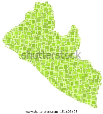 Decorative map of the Republic of Liberia - Africa - in a mosaic of green squares