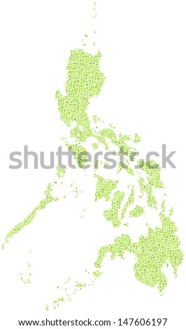 Decorative map of the Republic of the Philippines - Asia - in a mosaic of green squares. A number of 3437 little squares are accurately inserted into the mosaic. White background.