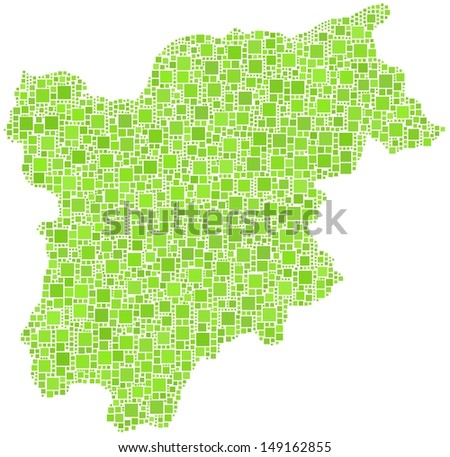 Decorative map of Trentino Alto Adige - Sudtirol - in a mosaic of green squares. A number of 2869 little green squares are accurately inserted into the mosaic. White background.