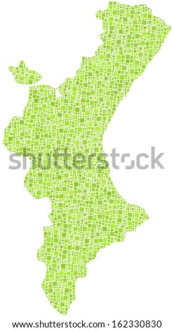 Decorative map of Valencia - Spain - in a mosaic of green square. A number of 4220 little squares are accurately inserted into the mosaic. White background.