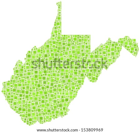 Decorative map of West Virginia - USA - in a mosaic of green squares. A number of 2767 little squares are accurately inserted into the mosaic. White background.