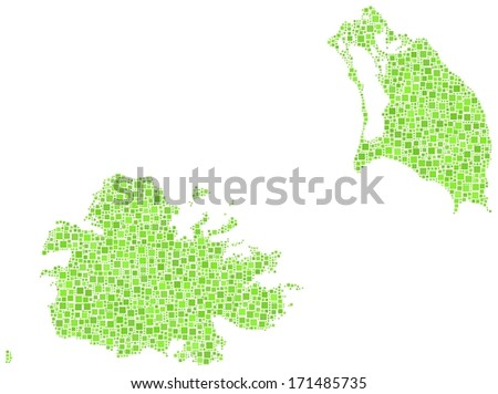 Decorative maps of Antigua and Barbuda - America - in a mosaic of green squares. A number of 2881 little squares are accurately inserted into the mosaic. White background.