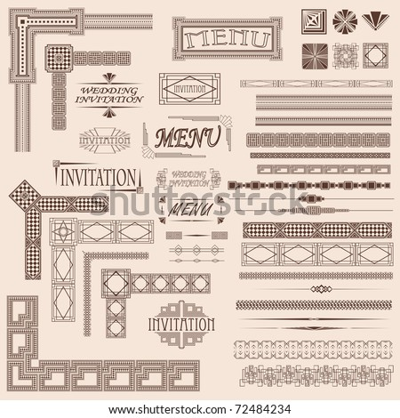 Decorative menu and invitation border elements - stock vector