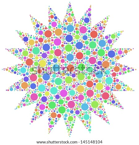 Decorative mesh of a Star in a mosaic of harlequin circles