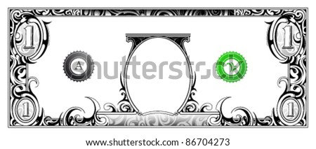 Decorative money banknote based on one dollar bill
