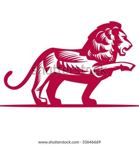 Decorative monochrome lion, without a gradient