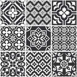 Decorative monochrome tile pattern design. Vector illustration.