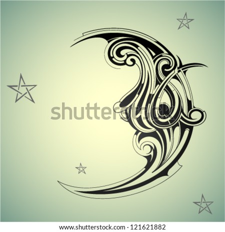 decorative moon shape on the