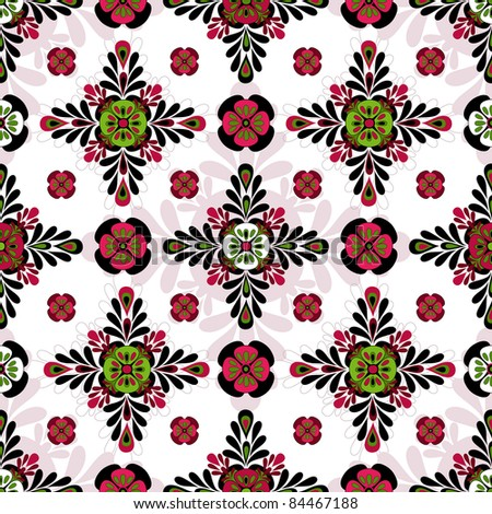 Decorative motley  white pattern with geometric flowers. A seamless texture (vector)