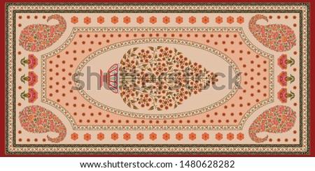 decorative mughal motif   stole cream background design