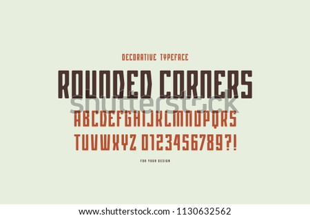 Decorative narrow sans serif font with rounded corners. Letters and numbers for logo and emblem design. Color print on white background