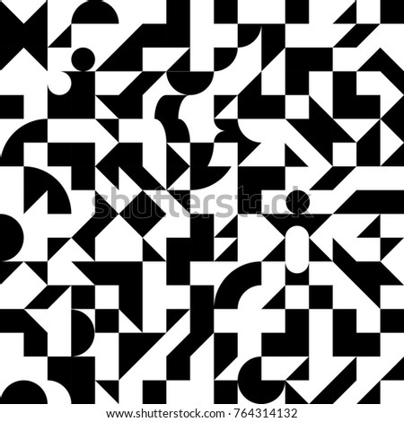Decorative ornament of geometric shapes. Abstract black and white geometric pattern