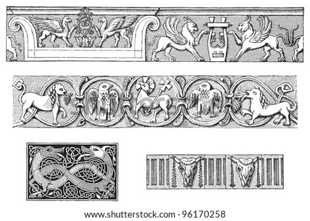 Decorative ornamental borders with animals / vintage illustration from Meyers Konversations-Lexikon 1897 - stock vector