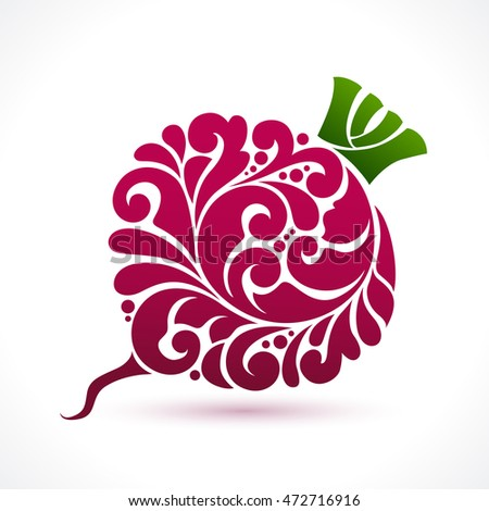 Decorative ornamental red beet isolated on white background. Vector abstract beetroot illustration logo design element for packaging, banner, poster