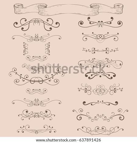 Decorative ornaments. Blue elements on vintage beige background. Vector illustration