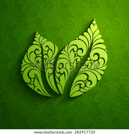 Decorative ornate green leaf icon logo on pattern background. Vector illustration. Eco natural design