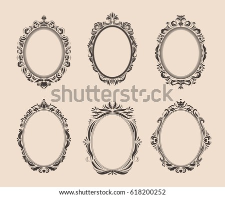 Decorative Oval Vintage Frames And Borders Set Victorian Baroque Style Design Elegant Royal