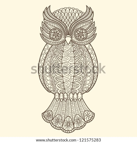 Decorative owl - stock vector