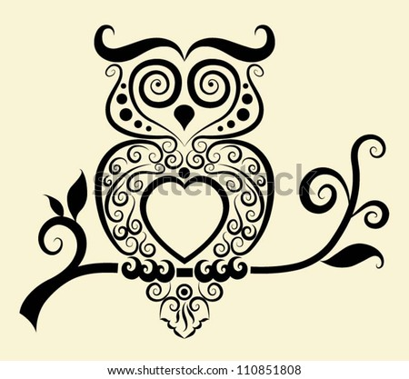 Decorative owl. Bird with floral ornament decoration. Use for tattoo or any design you want - stock vector
