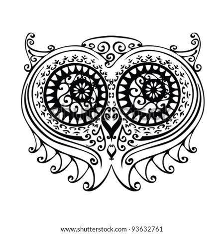 decorative owl illustration - free hand drawing