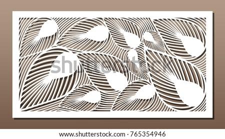 Shutterstock Decorative panel for laser cutting. Art silhouette design. Ratio 1:2. Vector illustration.