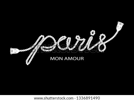 Decorative Paris Mon Amour (Paris My Love in French) Text with Rope Ornament for Fashion Prints