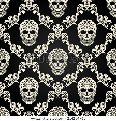 decorative pattern with skulls