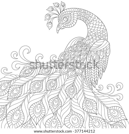 Finished Adult Peacock Coloring Pages
