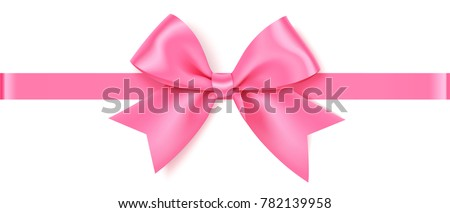 Decorative pink bow with horizontal ribbon. Vector rose bow for page decor isolated on white.