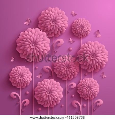 Decorative pink summer background with asters and butterflies in 3D style