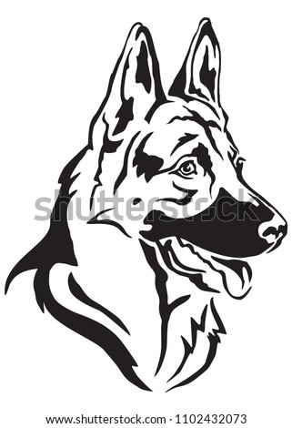 Decorative portrait in profile of dog German shepherd, vector isolated illustration in black color on white background