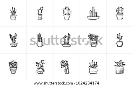 Decorative potted house plants and flowers sketch icon set for web, mobile and infographics. Hand drawn plants and flowers vector icon set isolated on white background.