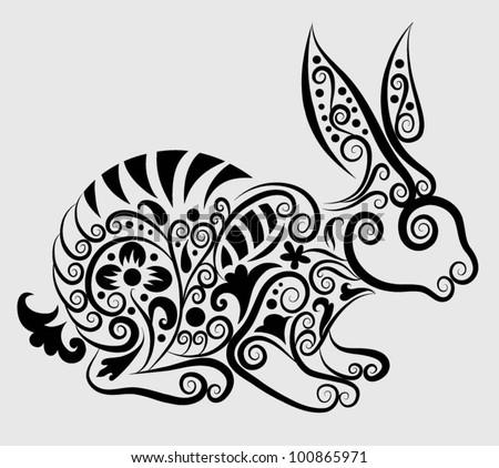 Decorative rabbit. rabbit and flora ornaments, leaf, flower, nature ...