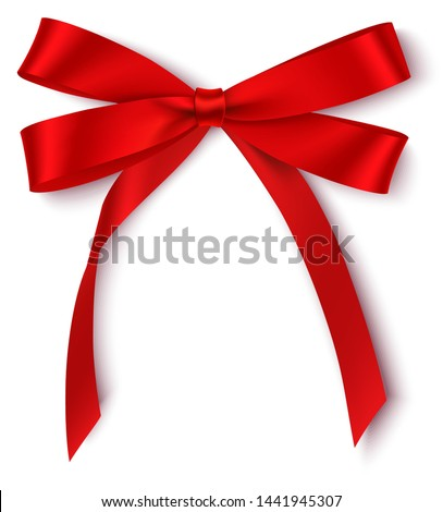 Decorative red bow isolated on white for holiday design. Vector illustration.