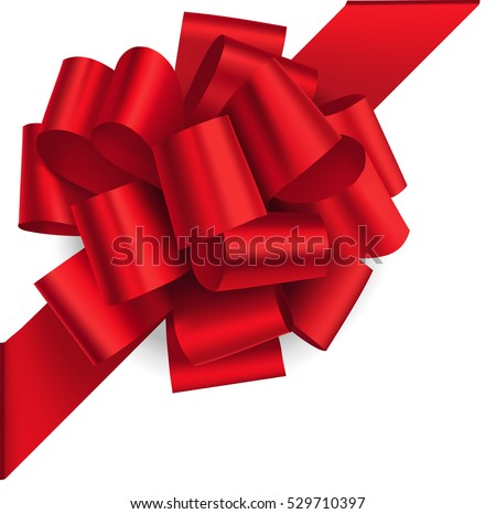 Decorative red bow on the corner with diagonally ribbon isolated on white. Vector bow for page decor