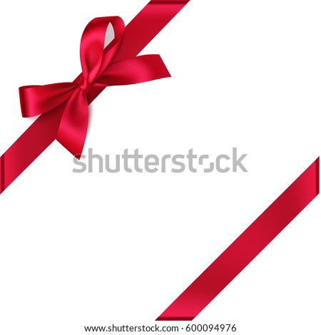 Decorative red bow with diagonally ribbon on the corner. Vector bow for page decor isolated on white