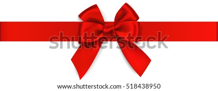 Decorative red bow with horizontal ribbon isolated on white. Vector bow for page decor